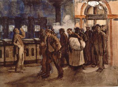 Arbeiter vom Bahnhof kommend